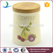 YSca0032-01-1 ceramic kitchen canisters with wooden lid
