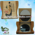 en gros usine plus récente conception mini bois miroirs de poche décoratifs