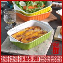 Bakeware servir prato prato de porcelana barato quadrado vitrificado