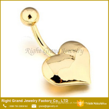 Aço cirúrgico 14k titanium banhado a ouro coração dangle anel da barriga