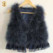 Cute Girls Turkey Feather Hot Vest Camisola de pele mais barata para mulheres