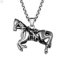 Statement Punk Stainless Steel Animal Running Horse Pendant Necklaces
