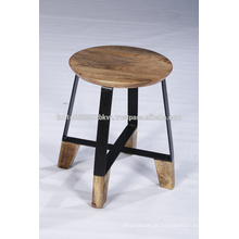 Industrial Vintage Wood Natural Finish Living Cross Cross Frame Stool