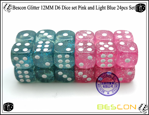 Bescon Glitter 12MM D6 Dice set Pink and Light Blue 24pcs Set-3