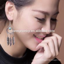 2016 tendência estilo boêmio vintage turquesa pena borla brincos para a mulher SSEH014