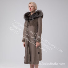 Long Hooded Australia Merino Shearling Coat Winter