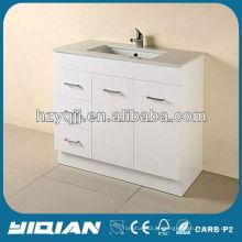 Modern Australia Bath Floor Vanity montado no chão com Kicks com painel traseiro High Gloss White E1 grade MDF banheiro Vanity Unit