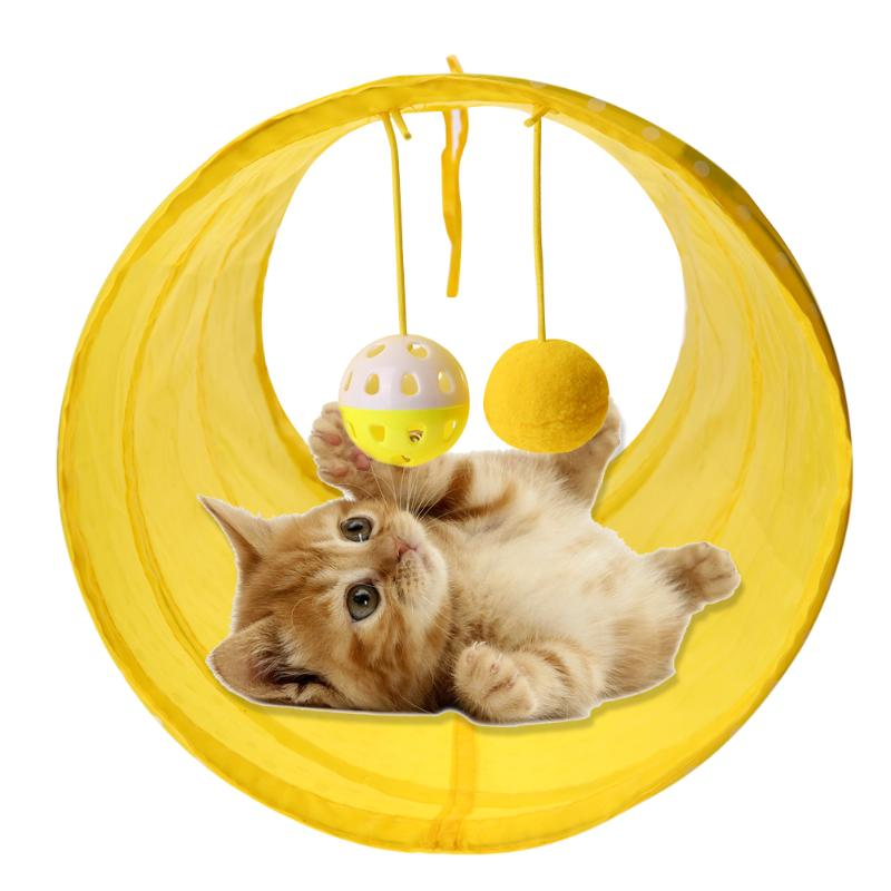 Funny Pet Cat Tunnel 2 Holes Cat Play Tubes Balls Collapsible Crinkle Kitten Dog Toys Puppy