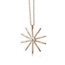 New Hot 2016 Cheap Plain 18k plaqué or délicat zircon et collier de perles