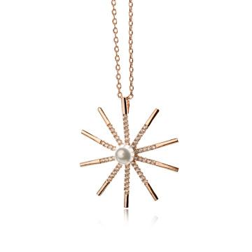 Novo quente 2016 barato Plain ouro 18k banhado zircon dom prazer e colar de pérolas