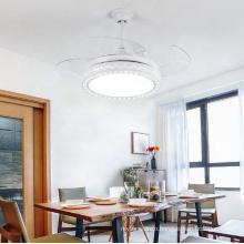 Modern Luxury Crystal Chandelier Decorative LED Fan Lamp Ceiling Fan Light