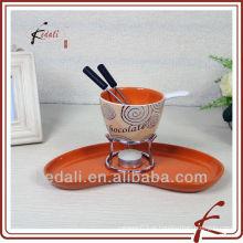Conjunto de fondue de chocolate de cerâmica com forquilha