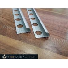 Perfil de alumínio borda redonda Trim com prata anodizada
