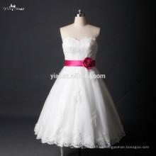 RSW785 Cuello Corto Puffy Falda corto vestido de novia del país con la correa de ciruelo