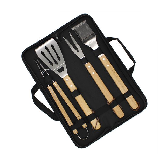 Wooden Handle BBQ Tools Set With Carry Bag