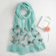 2017 Fashion chinese women Hijab embroider floral print blend silk scarf