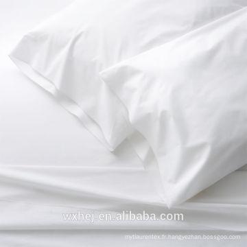 En gros 100% coton blanc usage de tissu pour feuilles et housses de couette