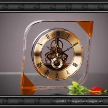 Nouvel artisanat d'horloge en verre de cristal de conception pour le cadeau