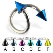 Aço inoxidável espiral colorido torcido barbell piercing