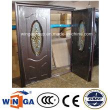 Double Doorleaf Exterior Podwer Coating Security Steel Glass Door (W-SD-10)