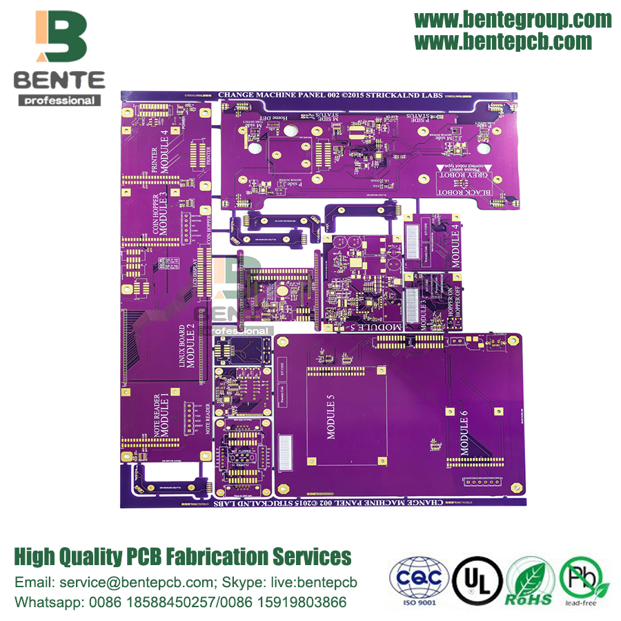 PCB 6Layers de alta precisão Multilayer Purple