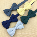 Custom Man Gift Set Silk Knitting Bow Tie with Embroidery Dots