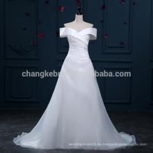 Schnelle Lieferung von der Schulter A-Linie Organza Brautkleider Gericht Zug Brautkleider
