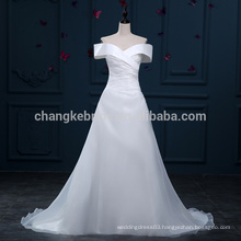 Fast Shipping Off The Shoulder A-Line Organza Wedding Dresses Court Train Bridal Gowns