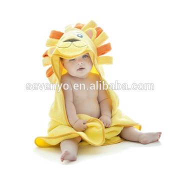 Мягкий младенцы органический 100% хлопок одеяло дети с капюшоном полотенца для купания,милый Лев капюшоном конверты для новорожденных,легко моющиеся и сухой 28*40 дюймов