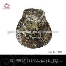 Jungen führte Leopard Fedora Hut