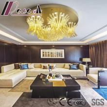 Lâmpada de pendente de vidro luxuosa da flor do tamanho grande de Champagne com hotel