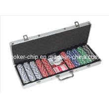 La viruta de póker 500PCS fijó en la caja de aluminio de la esquina redonda (SY-S26)