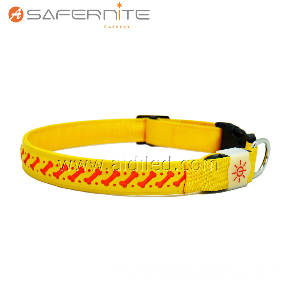 Yellow Leather Glowing Light Up Dog Collar