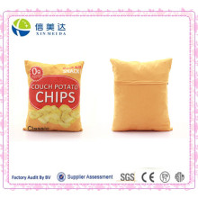 3D Digital Printing Classic Potato Chips Square Plush Cushion