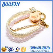 Bracelet de perles roses de luxe pas cher