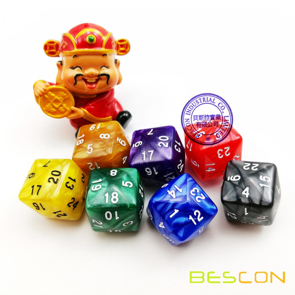 Mixed Colored Opaque Polyhedral Dice 24-sides, D24 Die Gaming Dice, D24 dice, 24 Sides Dice