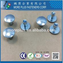 Fabriqué à Taiwan Carbon Steel C1006 Zinc Plated CR6 + Wax Oval Head Decorative Semi Tubular Rivets