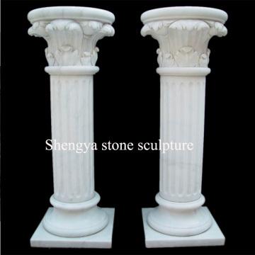 Columna blanca de la escultura de la piedra de mármol (SY-C023)