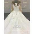 Vestido nupcial de la bola del vestido de boda de las mangas largas apliques de alta calidad de marfil