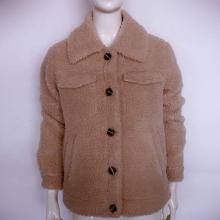 Abrigos cortos para mujer con cuello vuelto de invierno Chaqueta de vellón Sherpa mullida de piel para mujer