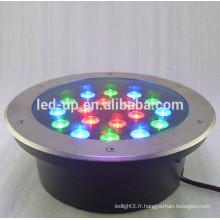 Lumière souterraine led 18w RGB avec lumens élevés