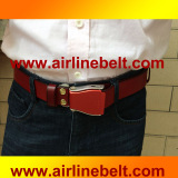 Top grade airplane buckle leather belt
