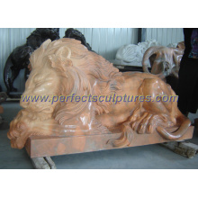 Lion de marbre pour statue en pierre Sculpture animale (SY-D058)