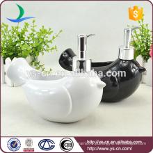Cerâmica branca e preta pássaro de decoração decorativa Lotion Dispenser