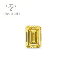ForeverFlame fancy yellow 2ct 7mm*9mm Emerald Cut diamond CVD CZ Moissanite Couples ring