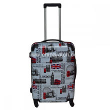 PC luggage with London style printing