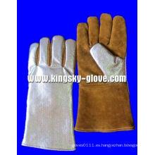 Golden Cow Split Leather Aluminium Foil Welding Work Glove-6700