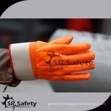 SRSAFETY Orange heavy duty PVC gloves PVC gloves safety gloves working gloves silicone finger glove
