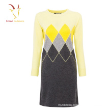 Women winter woolen sweater dress long color block knit sweater
