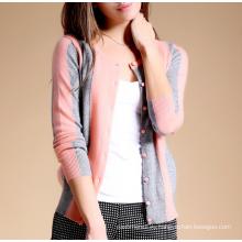 Женская свитер новый дизайн чистого кашемира вязать кардиган с вертикальными полосами о шеи однобортный